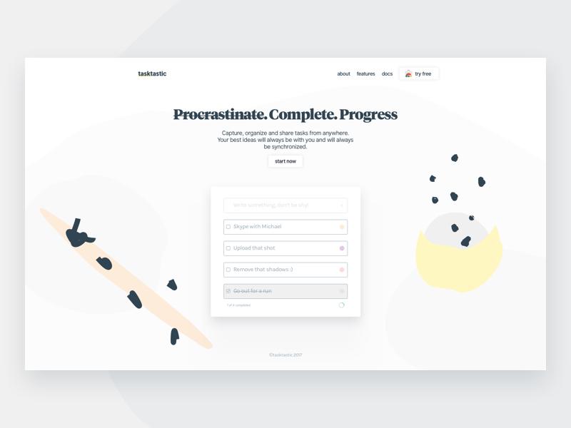 Tasktastic Features landing hero design abstract illustration marketing webapp app list todo task ui