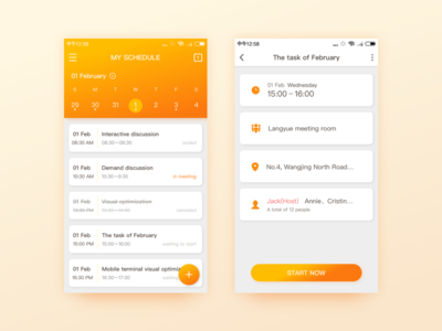 schedule white ux ui simple yellow design material ios interface schedule cool app