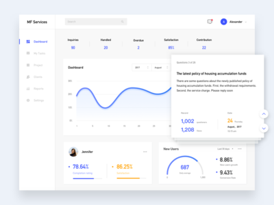 service account web ui stats numbers graph flat white service design dashboard chart