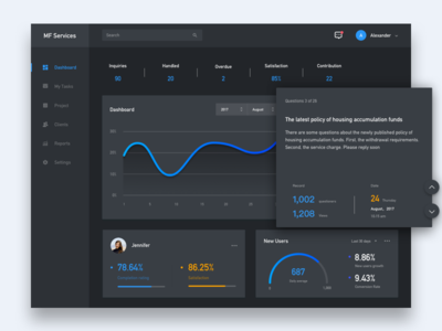 Service Account-Dark theme black dark web ui stats service numbers graph flat design dashboard chart
