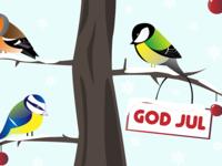 Birds in a tree christmas card