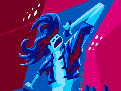 Rock singer frontman hair microphone cyan blue pink lowbrow art digital procreate singer music song rock artist illustration