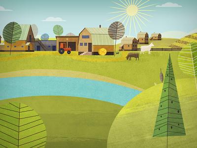 Lukino Village cow sky sun tree house farm simple stoke paint 2d flat illustration