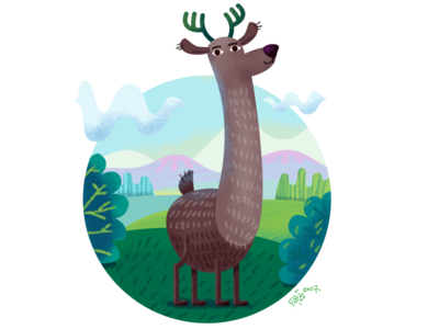Deer sky grass brush flat nature illustration affinity designer deer
