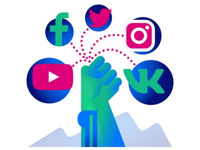 Getting a grip on Social Media Marketing grain vector design flat illustration