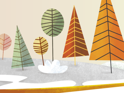 Lukino Forest vector brush winter tree simple paint graining forest flat farm 2d