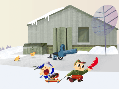 Lukino Children's war game vector brush simple russia war winter army game boy flat farm 2d