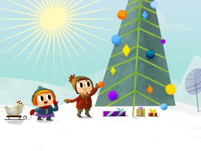 Lukino Christmas Tree vector brush simple paint war winter boy girl tree christmas flat 2d