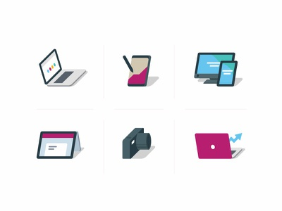 Icons for Digital Services shadow colorful flat oblique services icons