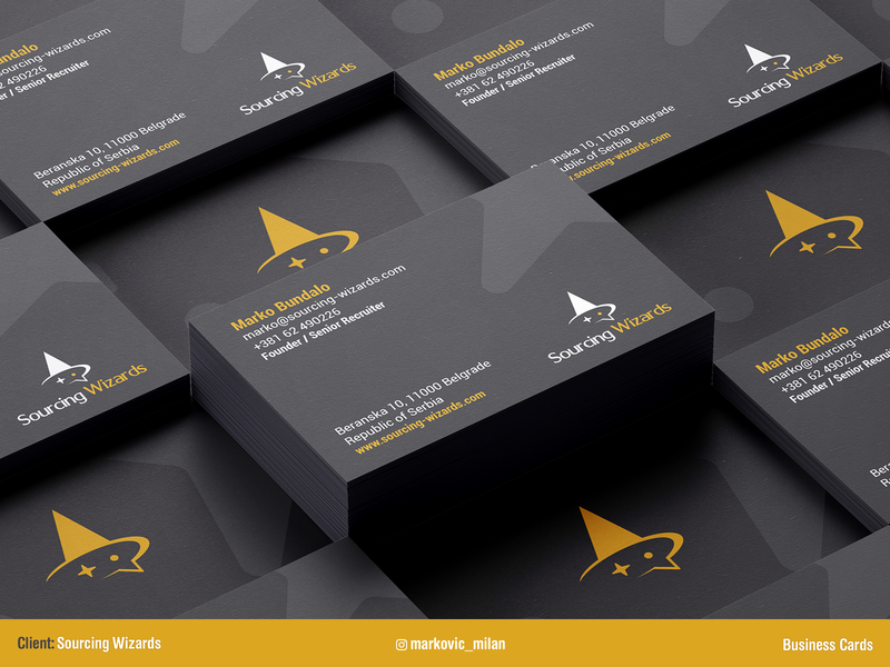 Sourcing Wizards - Business Cards shot client chat bubble mockup stationery dribbble wizards vector portfolio print design recruiting graphic design typogaphy logotype logo hr business card branding design