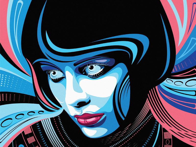 Blue girl meelantche black lips digital art eye debut first shot girl vector design character illustration