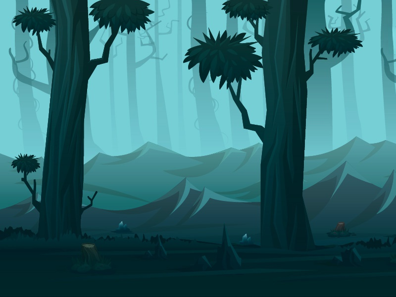 Forest meelantche mountain trees dark environment ios forest kiss hero digital art game design illustration