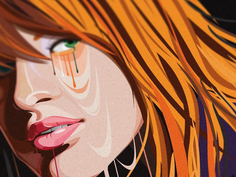 Orange Girl hair orange digital art meelantche cartoon lips portrait character design illustration vector