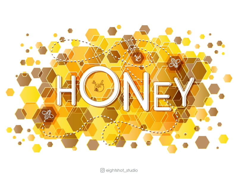 Creative illustration of Honey vector depositphotos adobe stock shutterstock mickrostock banner digital art hexagon design honey illustration