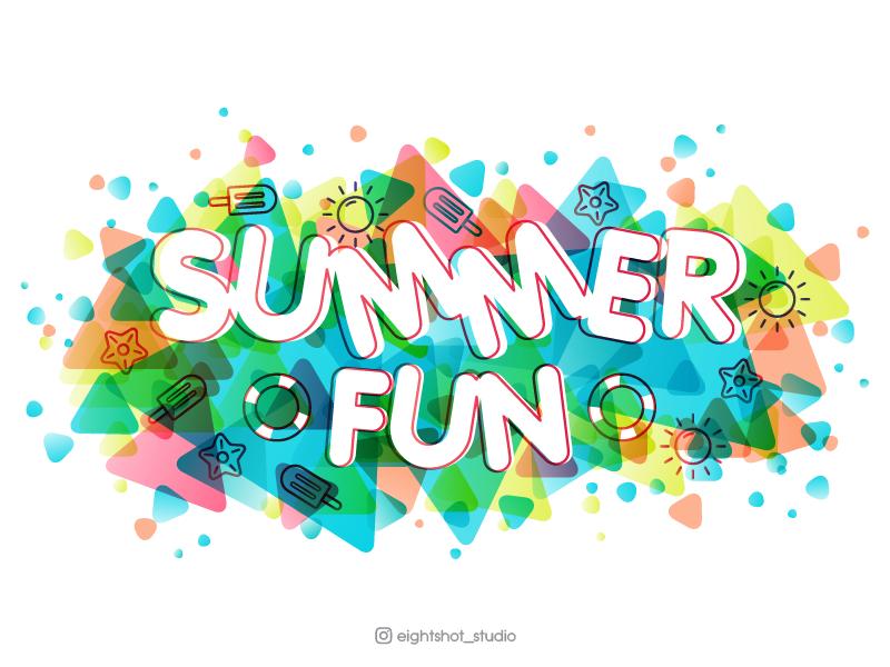Summer fun greeting card, vector illustration. design vector coloros ice cream graphic design banner concept illustration fun summer