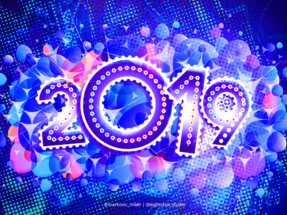 Happy New Year 2019 lettering neweve2019 colorful modern abstract splash photoshop vector digital art illustration typography graphic design