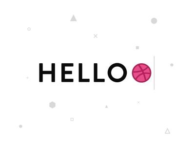 Hello Dribbble design clean grey black pink welcome hello minimal round square graphic dribbble