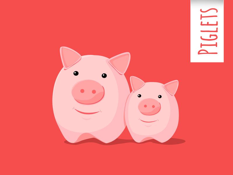 Piglets piglets pig vector illustration
