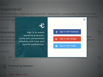 Login Modal podcamp social login