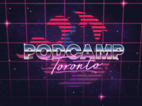 2019 synthwave retrofuturism logo design ontario canada podcast conference toronto podcamp
