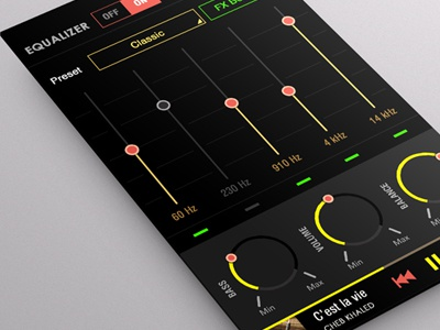 Equalizer Mobile Player App music player application mobile android flat ui design colored black yellow skin