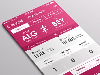 Flight Search App Iphone Ios7   Final qatar airways flight app flat ui iphone mobile travel ios7 booking trip