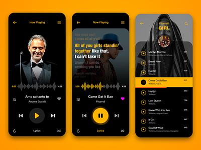 music player 2020 lyrics lyric music app ios design ui mobile music player