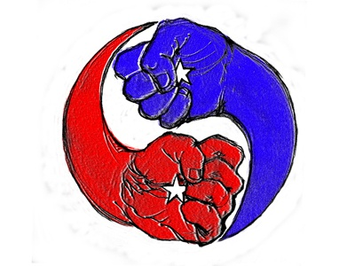 yin yang hands america usa piotrek chuchla fighting hands elections liberal conservative red blue