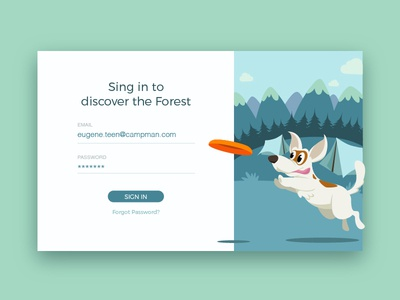Let's Go Outdoors cadabra travel material forest mountain dog registration nature flat camping illustration ui