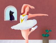 Balerine dance woman cat brushes shapes illustrator photoshop illustration balerine