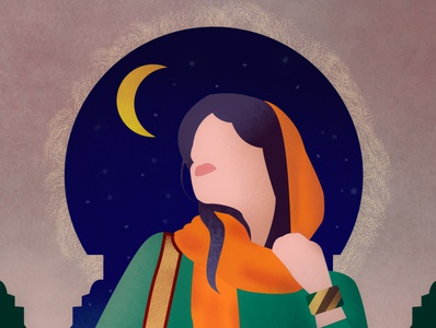 Oriental woman moon night woman oriental illustration