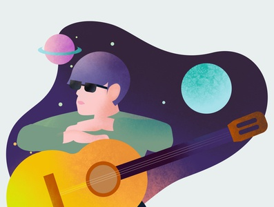 Guitarist color brush night space music guitarist illustration