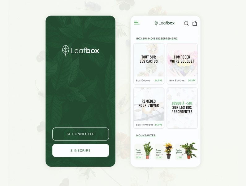 Leafbox app iphone app design application uiux uidesign delivery flowers green plants shop design ui app