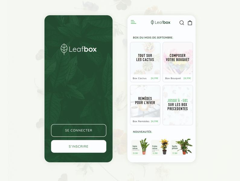 Leafbox app iphone app design application uiux uidesign delivery flowers green plants shop design ui app