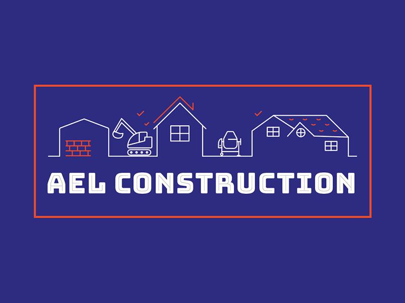 AEL Construction masonry build house builder illustration logo