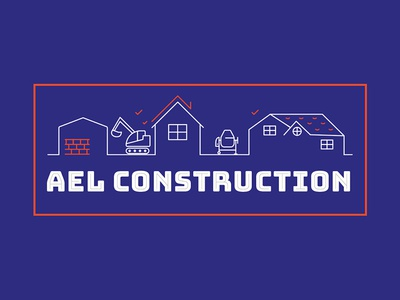 AEL Construction masonry build house builder illustration logo