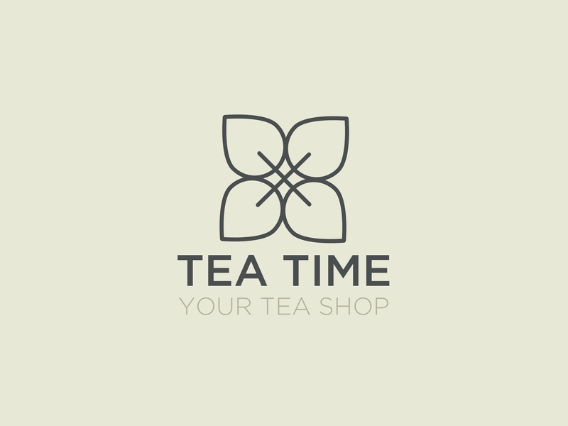 Tea Time logo design typography branding vector illustration flat tea logo