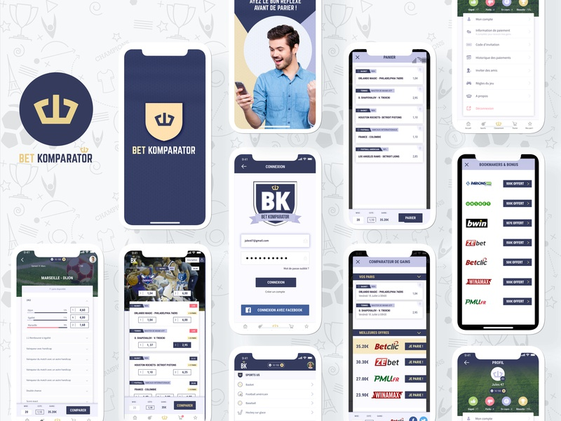 Bet Komparator app victory crown logo logo design ui american football tennis us basket football sport komparator bet app