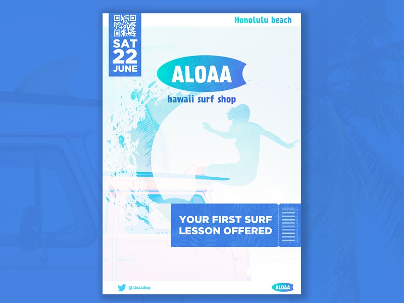 Design Roulette #5 Aloaa event design graphic lesson hawaii surf flyer leaflet