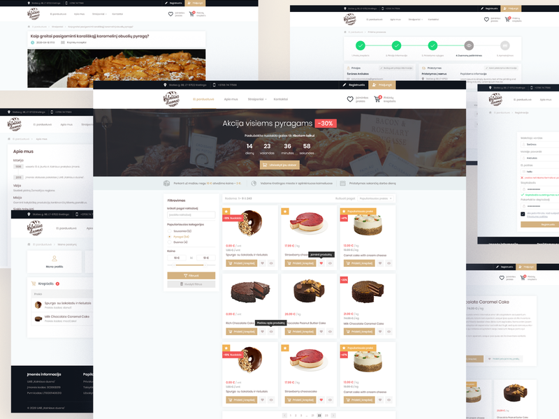 kalniausduona.lt - eshop web design registration purchase process user panel website web ux ui designs e-commerce website e-commerce design eshop