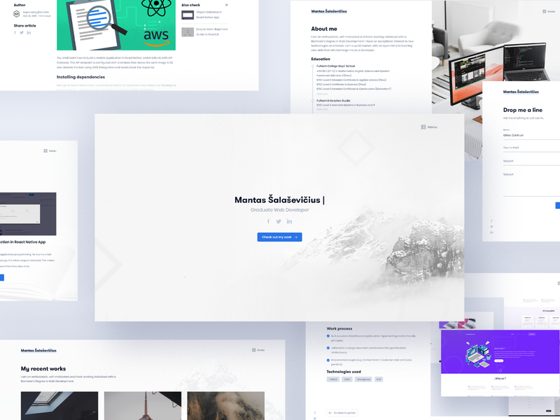 mantas.dev - portoflio web design personal website portfolio web development web design minimal website web ux ui design