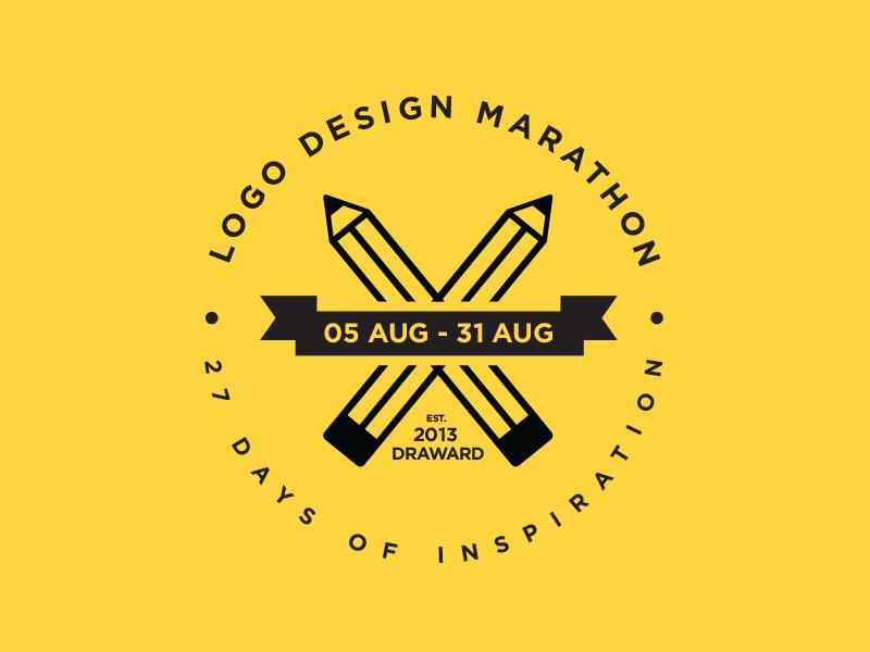 Logo Design Marathon logo design pencil inspiration round circular flag ribbon marathon