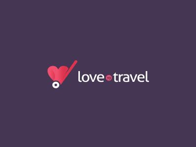 LoveToTravel Logo Design travel love heart logo design case identity vocation icon bag luggage