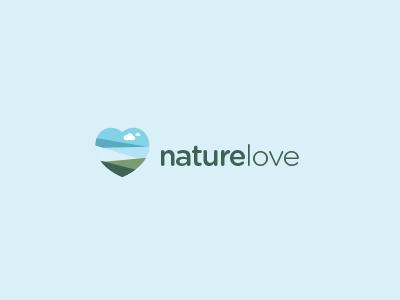 NatureLove Logo Design nature love heart landscape logo sky grass design cloud field sea
