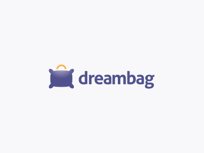 Dreambag Logo Design pillow travel hotel bag shop logo design sleep kids children