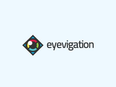 Eyevigation Logo Design branding identity logo designer eye arrow navigation logo design vision colorful travel navigator