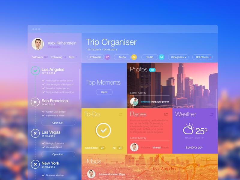Trip Organiser v2 web design flat ui ux travel app widget dashboard application interface metro