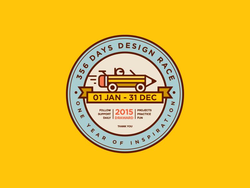 365 Days Design Race marathon ribbon pen circular round inspiration pencil design logo car race ui