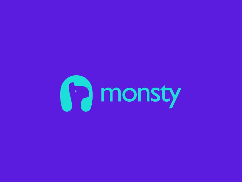 Monsty Logo Design monster logo design animal technology web app icon branding identity service