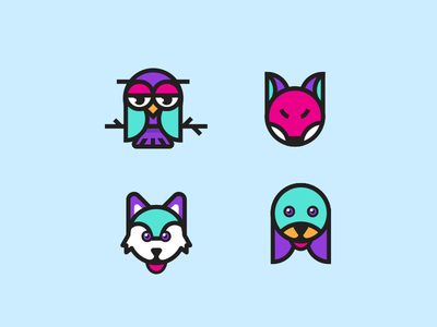 Animal Icon flat minimal logo design icon husky dachshund animal owl fox dog material design